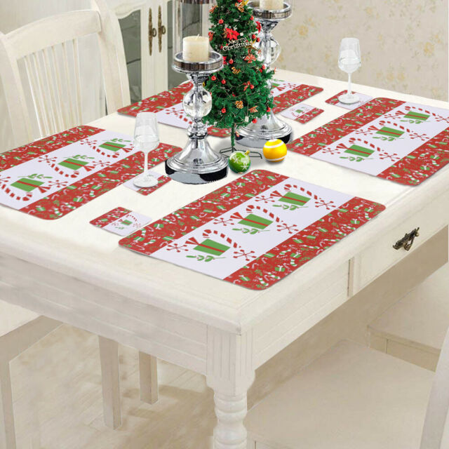 Set of 12 Xmas Gift Christmas PVC Placemats Place Mats Xmas Dinner Table