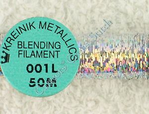 Kreinik-Blending-Filament-001L-Solar-Silver-Holographic-Metallic-Thread-50M