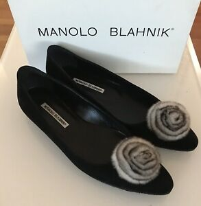 Manolo-Blahnik-Black-Suede-Rabbit-Fur-Rosette-Flats-Shoes-Size-39-5-EU-9-5-US