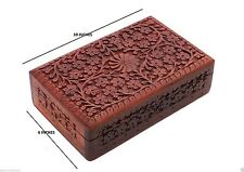 "Beautiful Wooden 10"" Large Natural Finishing Full Carved Jewellery box Gift Item"