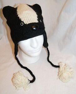 a305f972ea7 BADGER HAT ADULT skunk KNIT Ski cap BEANIE animal Costume Motorcycle ...