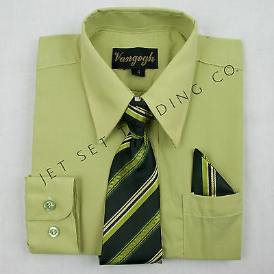 BOYS LILLY GREEN DRESS SHIRT WITH MATCHING TIE & HANKIE LONG SLEEVE Sizes 4 - 20