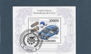 COMORES-2010-BLOC-FEUILLET-DE-1-TIMBRE-GOMME-OBLITERE-VOITURE-BF-N-254