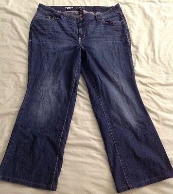 "Lane Bryant Jeans Sz 18 Average Blue Wash Stretch Tiger Striped Inseam 29"" Boot"