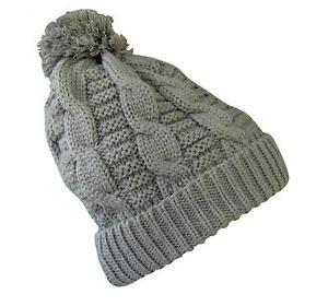 Design moderne achats nouvelle qualité Détails sur BONNET maille laine tricoté GRIS AVEC POMPON Homme Femme Enfant  Fille Garçon ...
