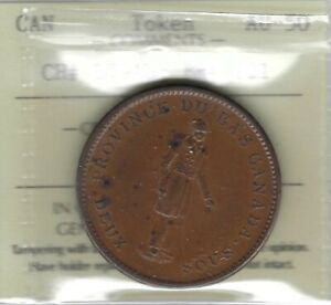 LOWER-CANADA-1837-City-Bank-Penny-Token-Breton-521-LC-9A3-ICCS-AU50-Inv-3447
