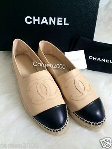245e70a9d22 Details about NIB CHANEL Leather Espadrilles Flats CC Cap Shoe Beige Black  35 36 37 38 39 40