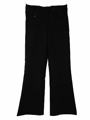 NEW LADIES EX M /& S BLACK SMART WIDE LEG BOOTCUT POLYESTER WORK TROUSERS 8-20