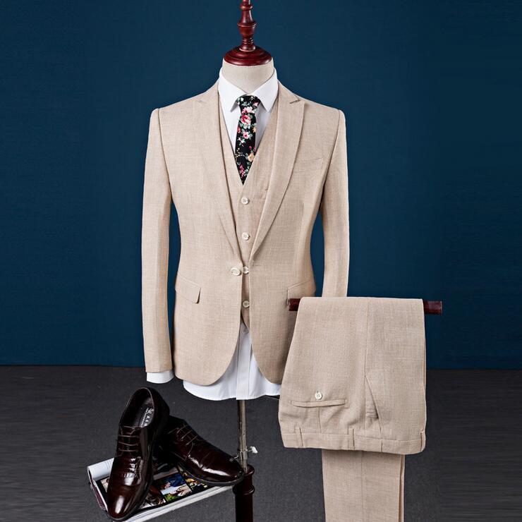 Khaki Linen 3 Pieces Slim Fit Best Man Tuxedo Formal Groomsman Wedding Prom Suit