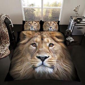 Roi-Lion-Taille-Housse-de-Couette-amp-D-039-Oreiller-Set-Sauvage-Imprime-Animalier-Lit