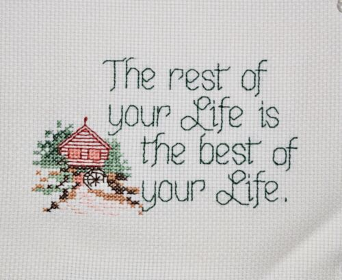 COMPLETED FINISHED CROSS STITCH THE REST OF YOUR LIFE IS THE BEST OF YOUR LIFE