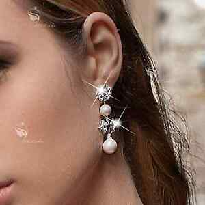 18k-white-gold-gf-made-with-SWAROVSKI-crystal-pearl-stud-Unbalanced-earrings