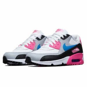 Dettagli su Ragazze Nike Air Max 90 in pelle (GS) bianco rosa 833376 107 UK 3 _ 4 _ 5.5- mostra il titolo originale