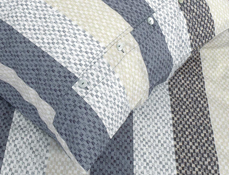 Coverot Popeline-Bettwäsche Woven Stripe (700), 155x220cm - graphit  | Hochwertige Materialien