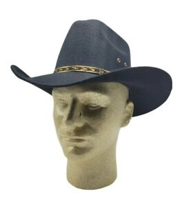 Western Express Black Faux Felt Cowboy Hat With Brown Band Size 6 7/8  New