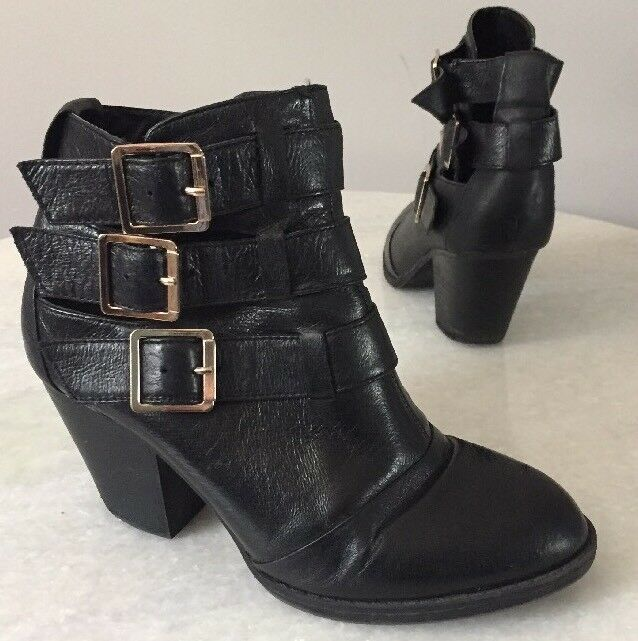 STEVE MADDEN Repp Black Leather Ankle Boots Women's Size 6.5