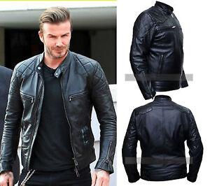 7a2018a45 Details about David Beckham Black Motorcycle Real Vintage Biker Leather  Jacket