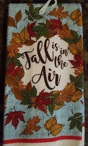 KITCHEN DISH TOWEL QUALITY MICROFIBER  Beautiful Fall is in the Air Blue Brown
