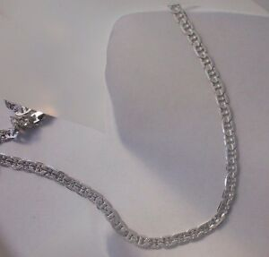 14k White Gold Plated Marnier Chain 6MM wide Lifetime w