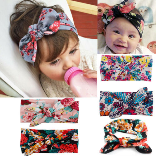 1X Bunny Bow Knot Turban Headband Hair Band Headwrap for Baby Toddler Girls Kids