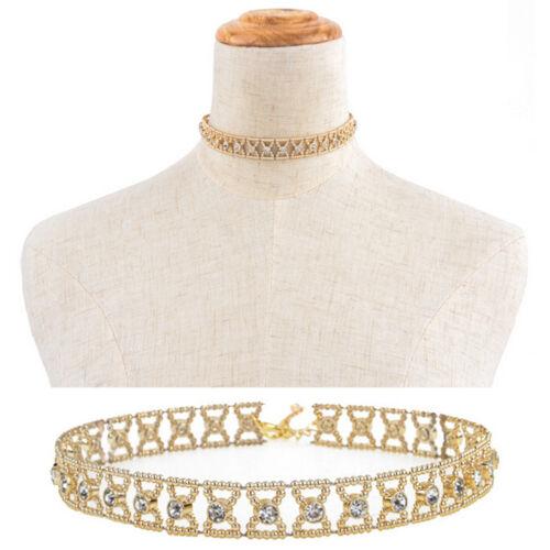 Women Crystal Rhinestone Pendant Choker Collar Bow Gold Chain Necklace Gut