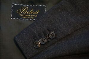 Belvest-Charcoal-Woven-Wool-Blend-Sport-Coat-Jacket-Sz-48R-Made-in-Italy