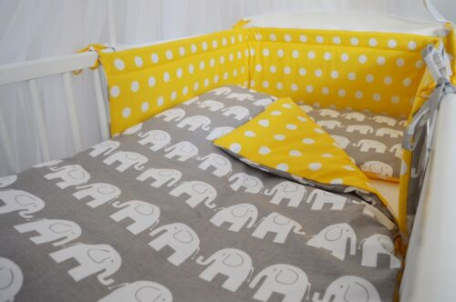 LUXURY CANOPY 5 PC GREY YELLOW  BABY BEDDING SET BUMPER+MORE COT COT BED