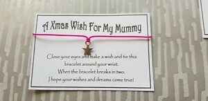 Christmas-Wish-Mummy-Wish-Bracelet-Friendship-Gift-Family-Xmas