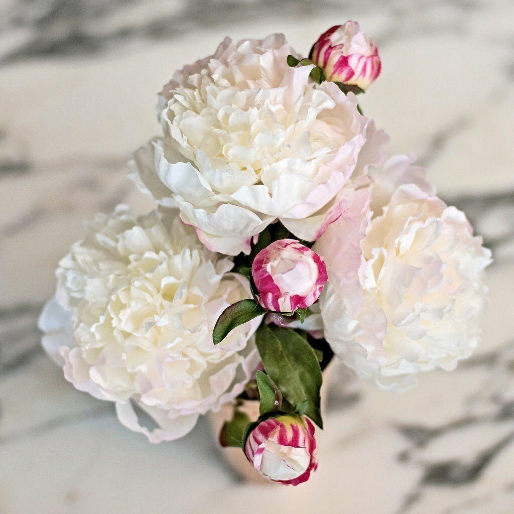 Bunch of 5 groß Weiß Peonies, Realistic kunstificial Luxury Faux Silk blumen