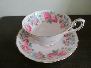 Tuscan-England-Tea-Cup-And-Saucer-Pink-Roses-Flowers