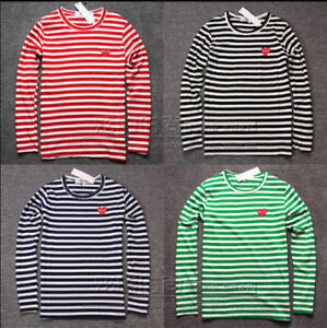 Hot-STRIPED-MEN-039-S-WOMEN-COMME-DES-GARCONS-CDG-PLAY-RED-HEART-LONG-SLEEVE-T-SHIRT