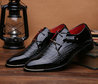 Men's Casual Pointed Patent Leather Lace Wedding Formal Dress Shoes Oxfords M60
