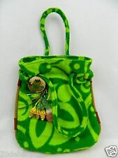 NEW Marni Green Floral Terry Cloth Small Beach Pool Pouch Bag Purse 2 Brooches