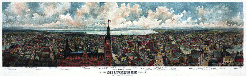 3242 Vintage POSTER.Powerful Graphic Design.Milwaukee.Landscape.City. Art Decor