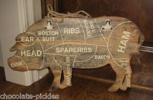 Wood-PIG-BUTCHER-MEAT-CHART-Wall-SIGN-Message-BOARD-Primitive-Farmhouse-Decor
