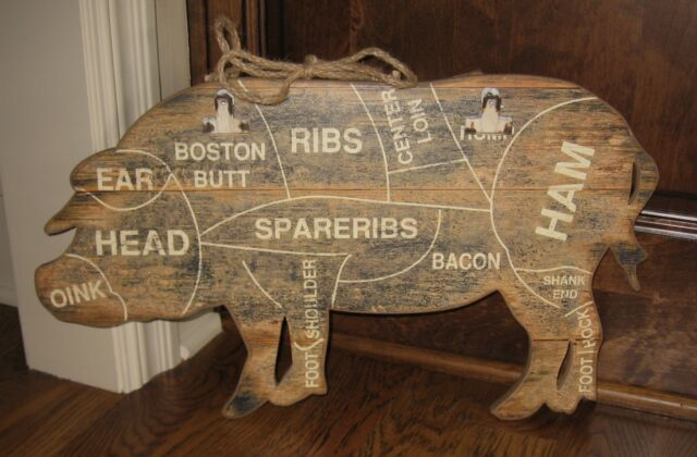 Wood PIG BUTCHER MEAT CHART Wall SIGN/Message BOARD*Primitive Farmhouse Decor