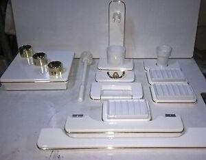 Plafoniere In Legno Per Bagno : Set accessori da bagno plafoniera in legno colore bianco e oro