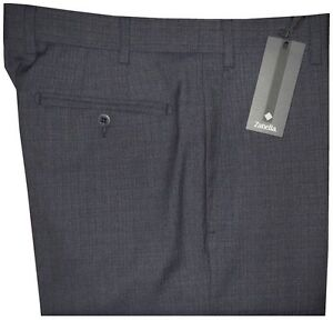 365-NEW-ZANELLA-ITALY-NORDSTROM-DEVON-DK-BLUE-GRAY-130-039-S-WOOL-DRESS-PANTS-40