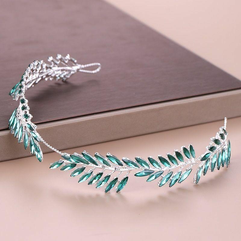 Leaf Pattern Crystal Rhinestones Wedding Headband Tiara Accessories Alloy Metal