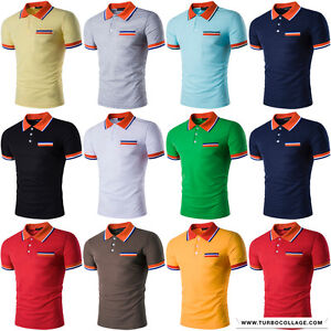Mens Multi Color Polo Shirts Performance Collar Spinner Chest Cuff