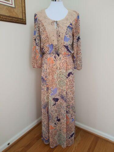 70s80s Authentic Sheer Boho Chic DressSheer DressGeometric DressBoho Chic DressStriped DressFrock