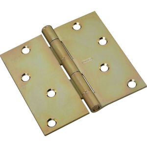 "Stanley Hardware Square 4/"" Satin Brass Residential Door Hinges Lot of 6"