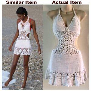 White CROCHET Halter DRESS Bikini COVER-UP Beach RESORT Cotton SIZE 8 10 12