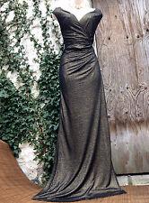 BNWT Glamour Monzón formulario de estilo Hollywood-halagador Oscuro Metálico Oro Dr 16