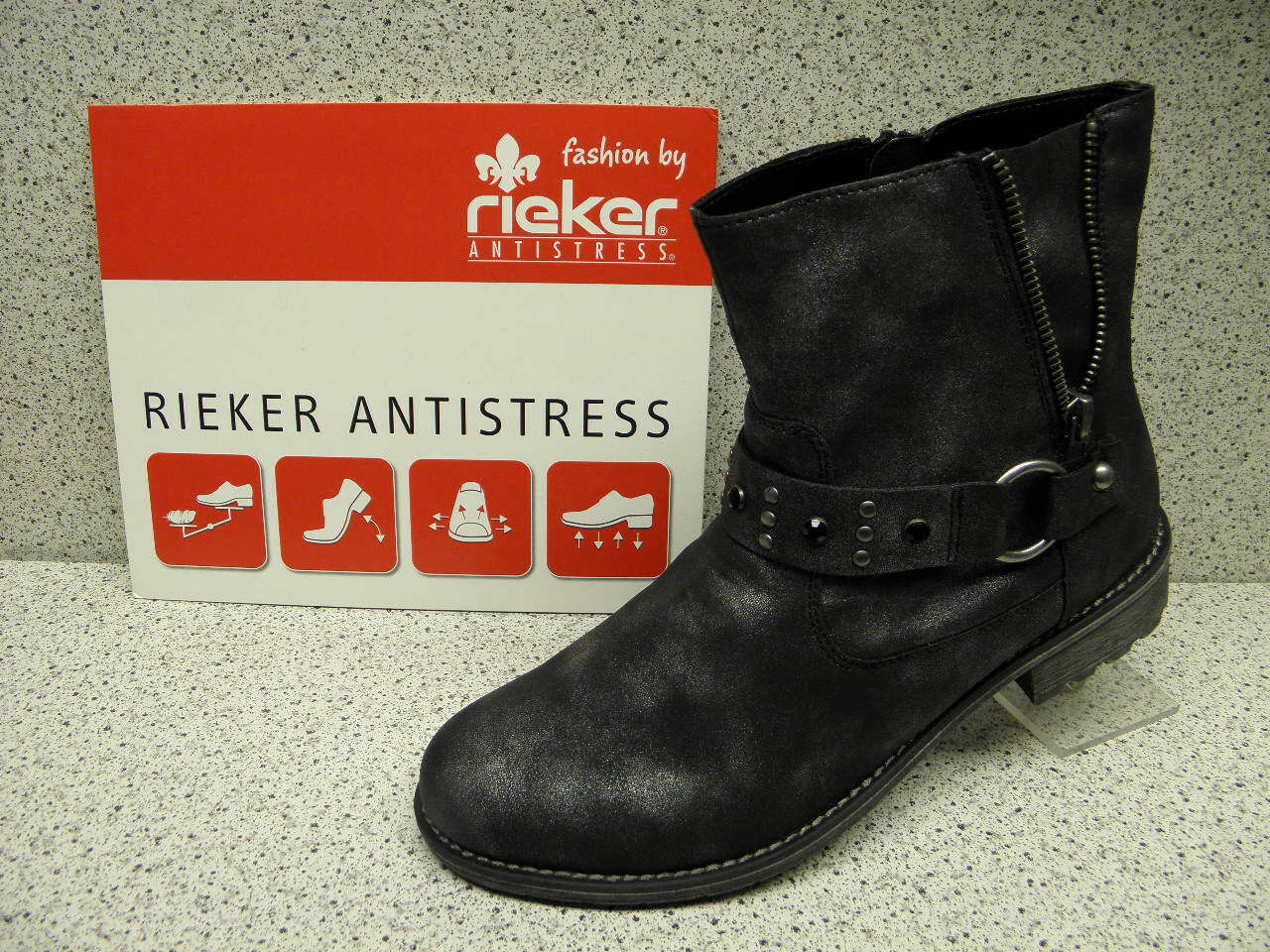 Rieker ® rotuziert,  bisher   + gratis Premium - Socken K3485-45 (R156)