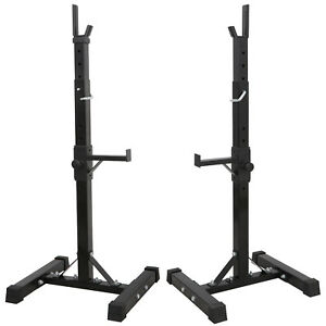 2pcs Adjustable Solid Steel Squat Barbell Stand Rack Free Press Bench Gym by Unbranded
