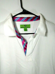 Bristol-amp-Bull-White-Cotton-Polo-Shirt-Mens-Size-L-Large-Blue-and-Pink-Accents