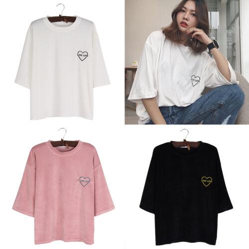 Damen Locker T-Shirt Sommer Kurzarm Love Love Herz Stickerei Rundhals Farbwahl