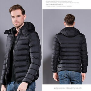 Details about Winter Mens Fashion Hooded Parka Quilted Coat Slim Fit Puffer  Jacket Large Size c47d389aa