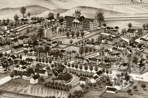 Historic Vermont Art Vintage Castleton Old Victorian Industrial VT Map 1886
